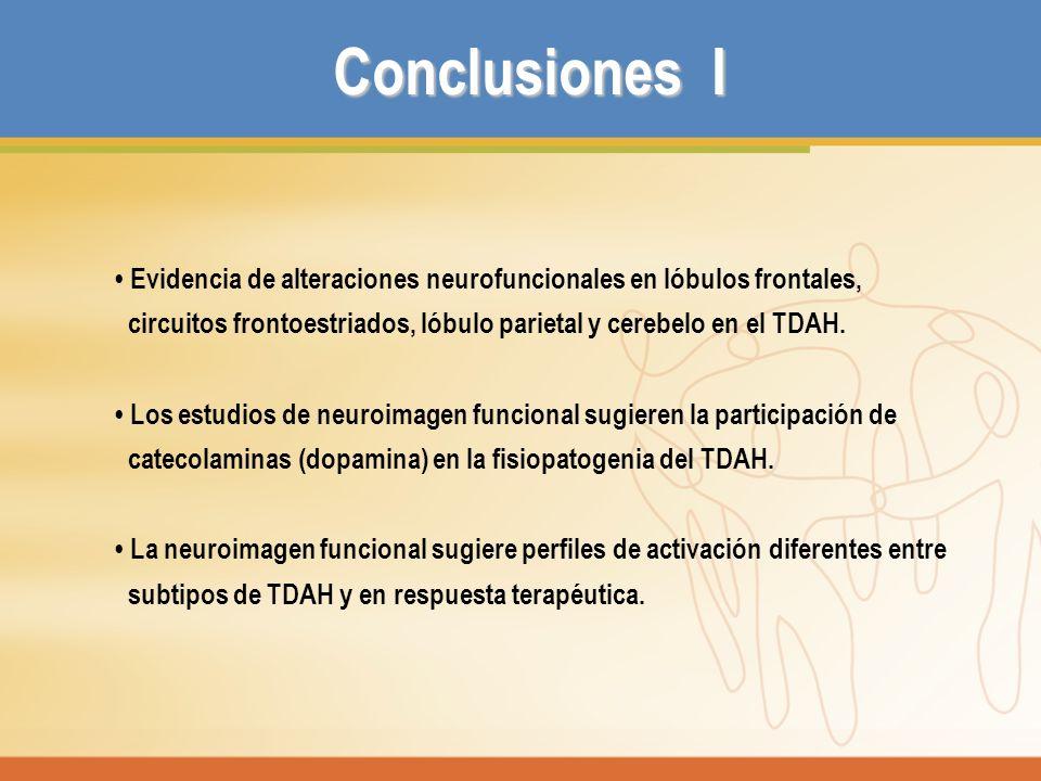 Conclusiones I • Evidencia de alteraciones neurofuncionales en lóbulos frontales, circuitos frontoestriados, lóbulo parietal y cerebelo en el TDAH.