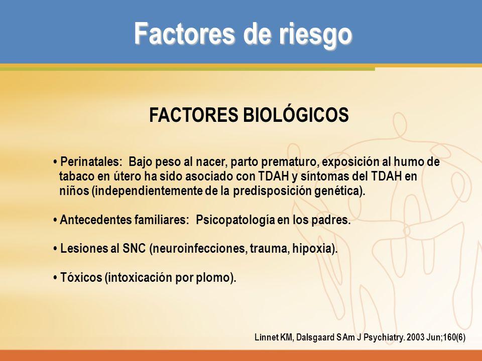 Factores de riesgo FACTORES BIOLÓGICOS