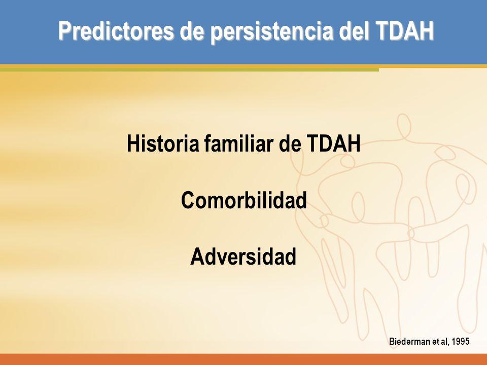 Predictores de persistencia del TDAH Historia familiar de TDAH