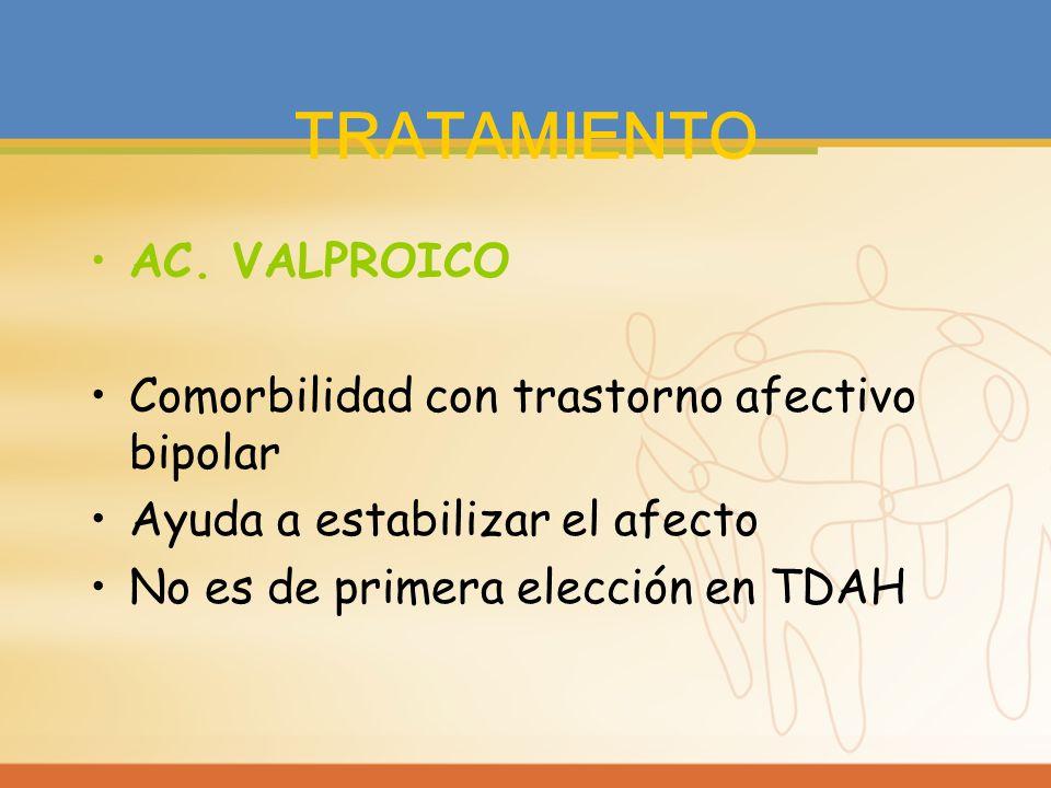 TRATAMIENTO AC. VALPROICO Comorbilidad con trastorno afectivo bipolar