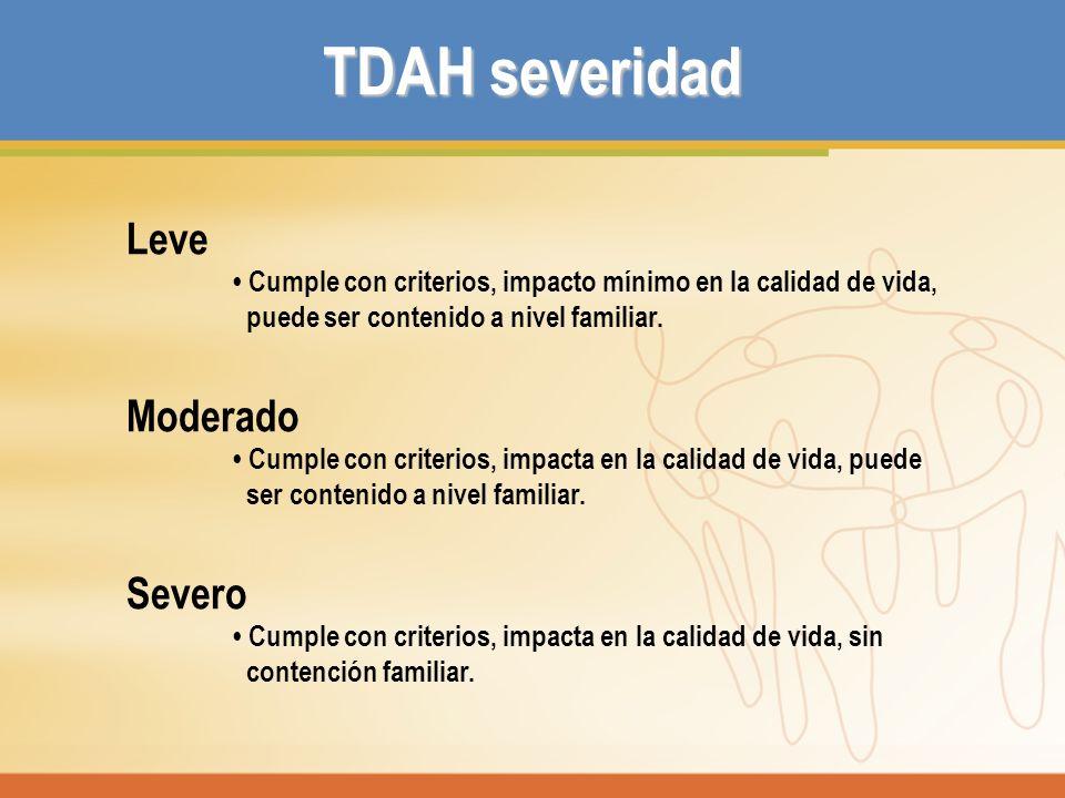 TDAH severidad Leve Moderado Severo