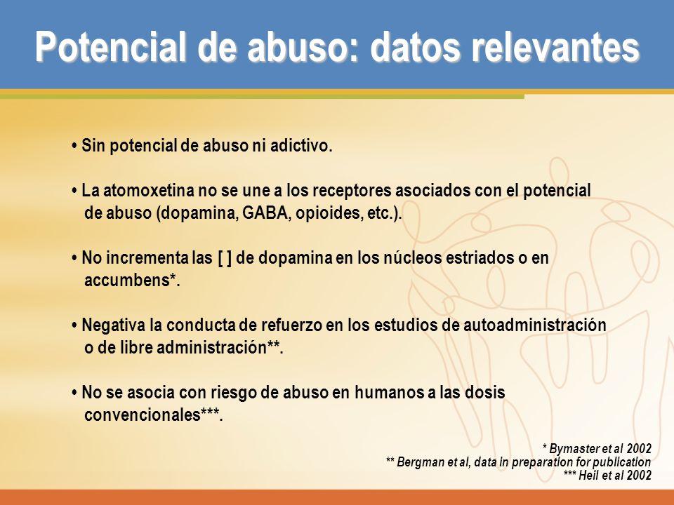 Potencial de abuso: datos relevantes