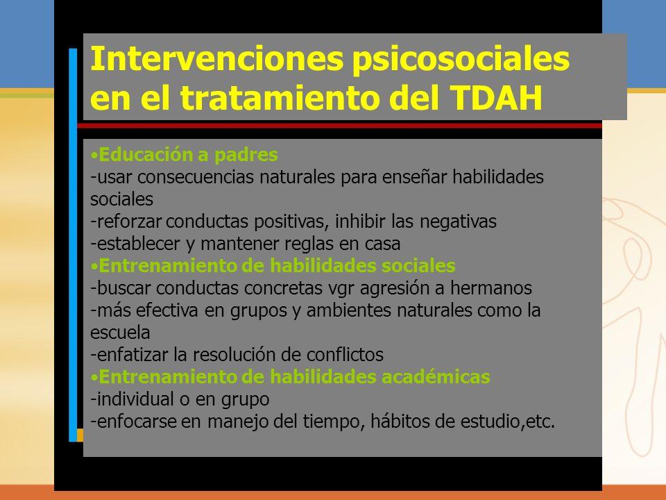 Intervenciones psicosociales en el tratamiento del TDAH