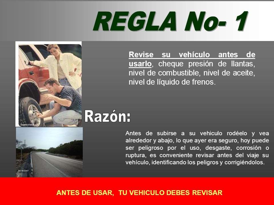 ANTES DE USAR, TU VEHICULO DEBES REVISAR