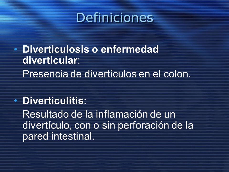Definiciones Diverticulosis o enfermedad diverticular: