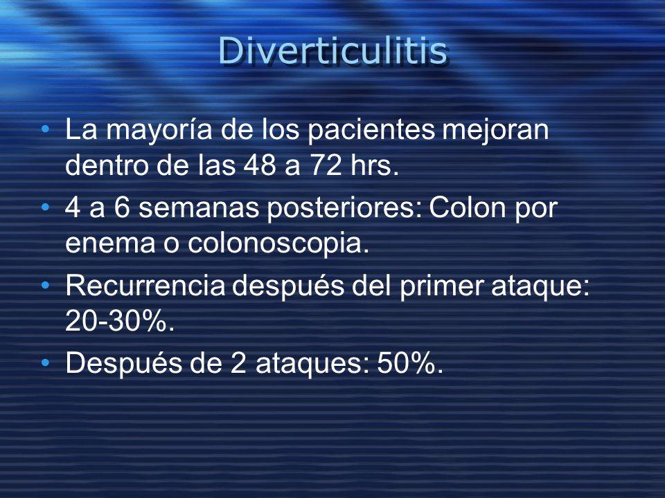 Diverticulitis La mayoría de los pacientes mejoran dentro de las 48 a 72 hrs. 4 a 6 semanas posteriores: Colon por enema o colonoscopia.