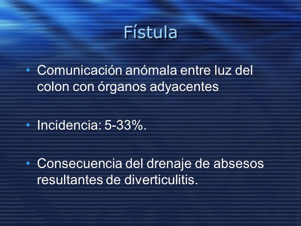 FístulaComunicación anómala entre luz del colon con órganos adyacentes. Incidencia: 5-33%.
