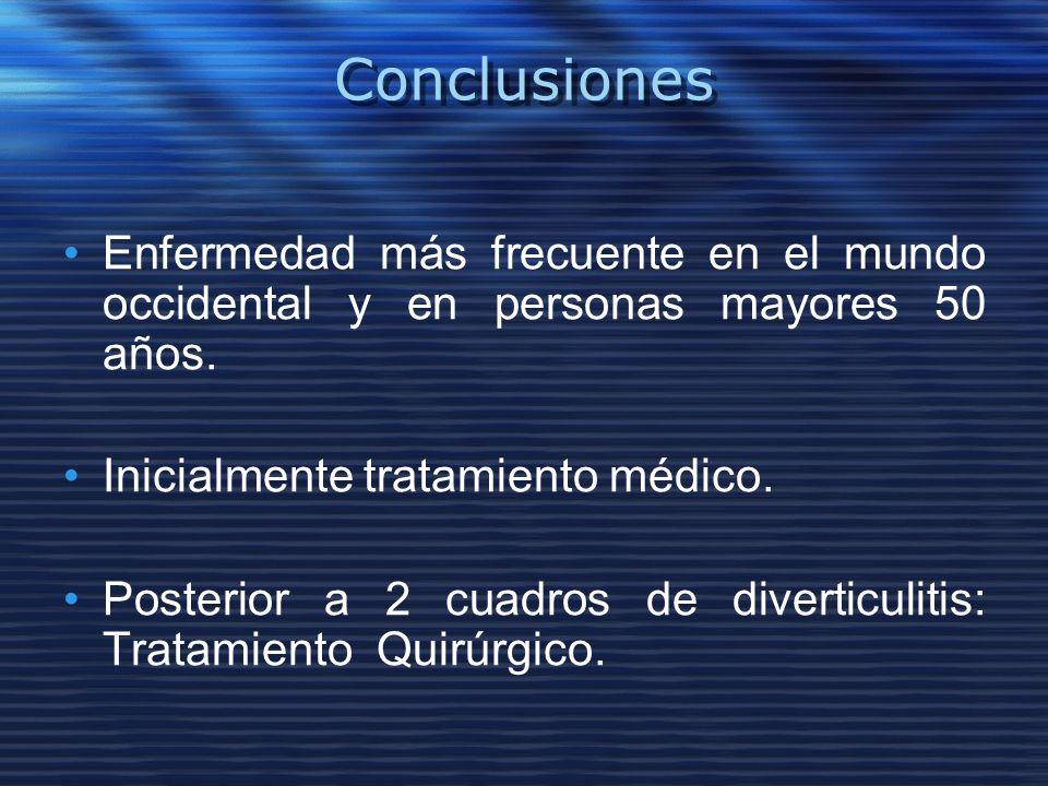 Conclusiones Enfermedad más frecuente en el mundo occidental y en personas mayores 50 años. Inicialmente tratamiento médico.