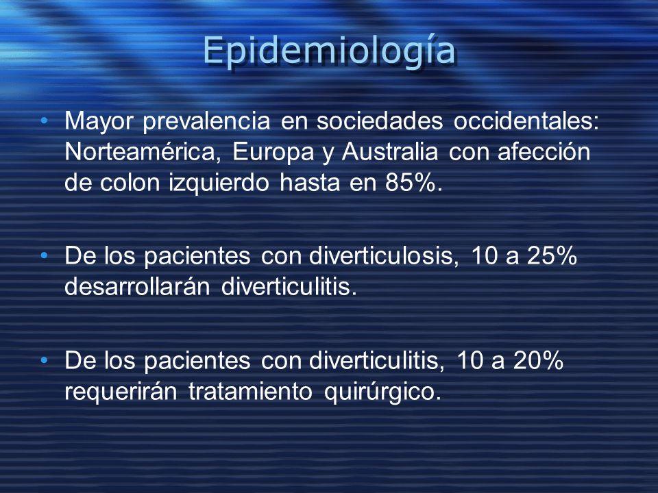 EpidemiologíaMayor prevalencia en sociedades occidentales: Norteamérica, Europa y Australia con afección de colon izquierdo hasta en 85%.
