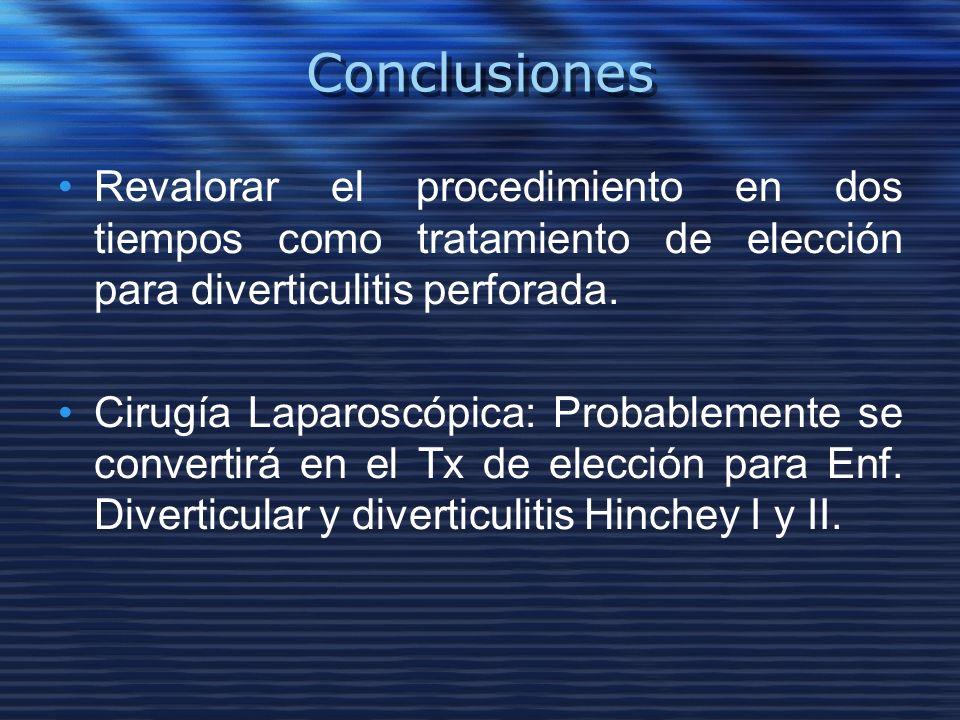 Conclusiones Revalorar el procedimiento en dos tiempos como tratamiento de elección para diverticulitis perforada.