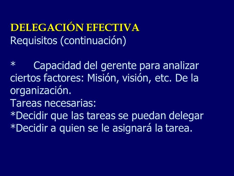 DELEGACIÓN EFECTIVA Requisitos (continuación)