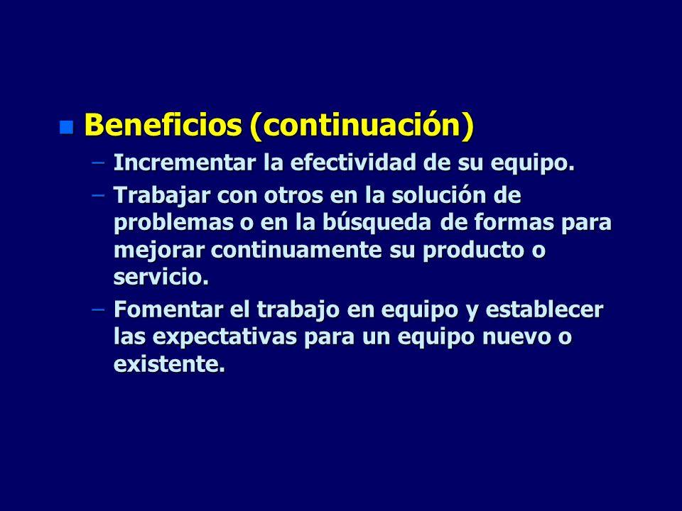 Beneficios (continuación)