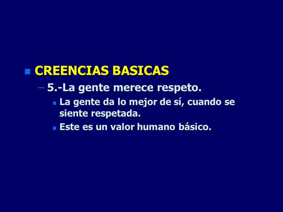 CREENCIAS BASICAS 5.-La gente merece respeto.