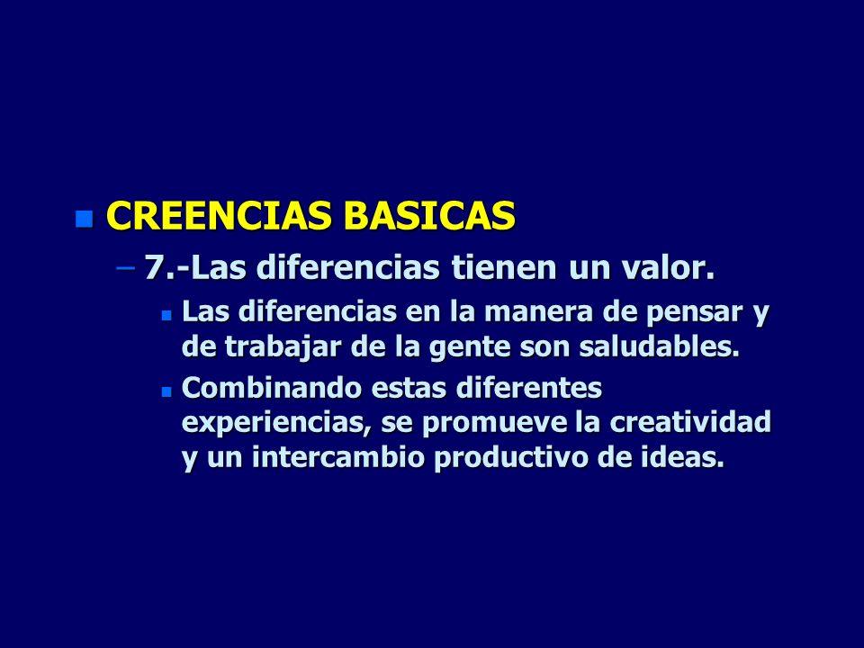 CREENCIAS BASICAS 7.-Las diferencias tienen un valor.