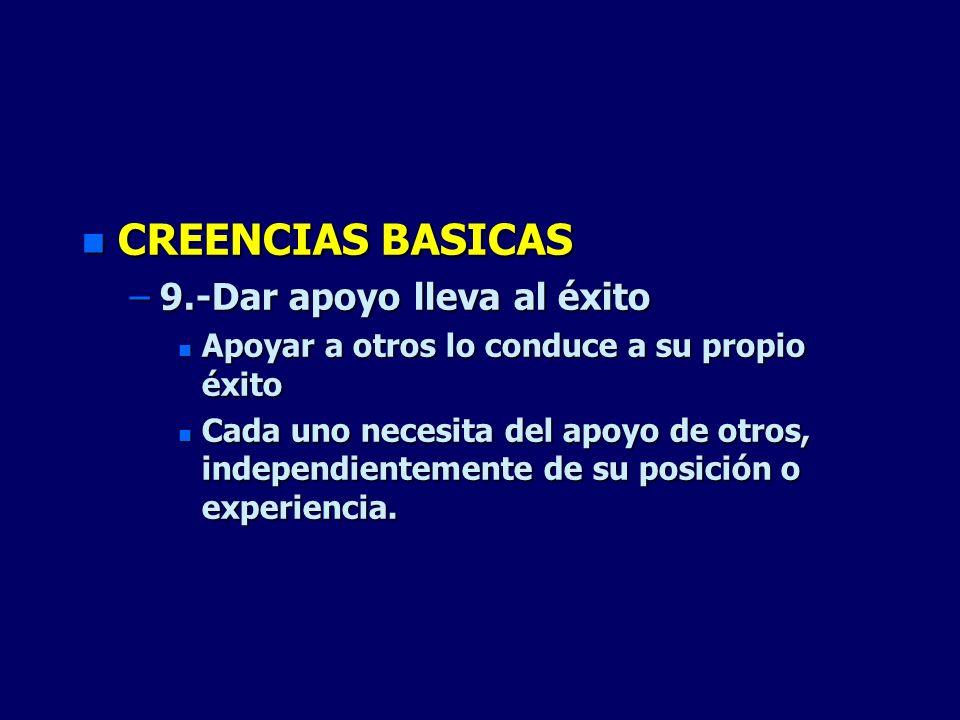 CREENCIAS BASICAS 9.-Dar apoyo lleva al éxito