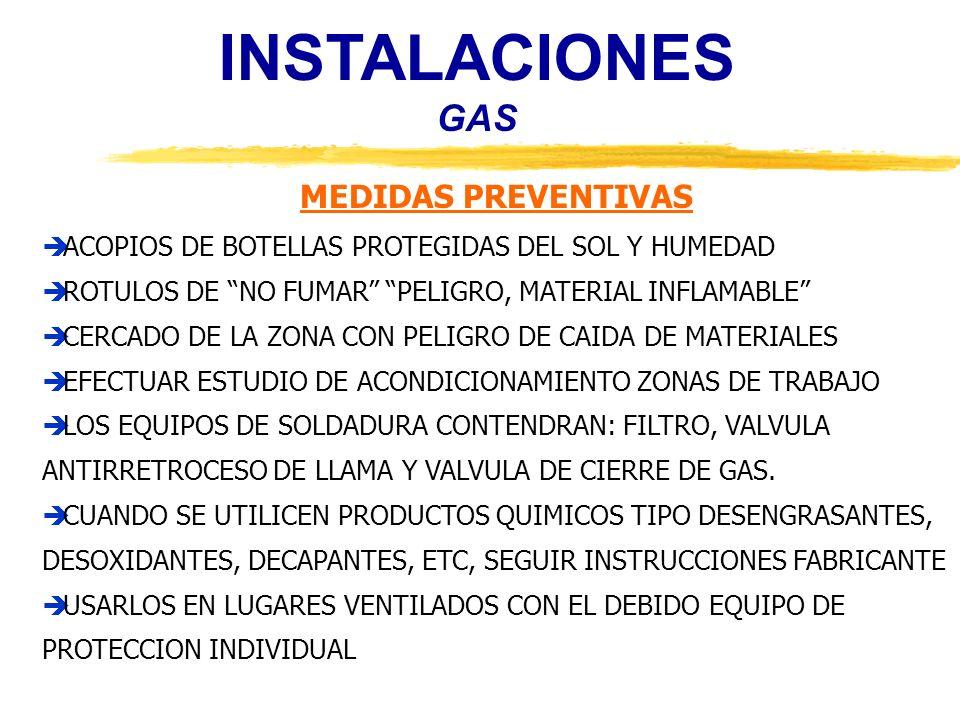 INSTALACIONES GAS MEDIDAS PREVENTIVAS
