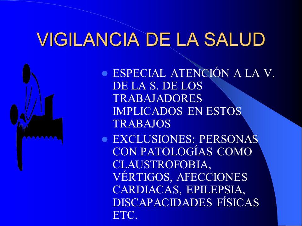 VIGILANCIA DE LA SALUD ESPECIAL ATENCIÓN A LA V. DE LA S. DE LOS TRABAJADORES IMPLICADOS EN ESTOS TRABAJOS.