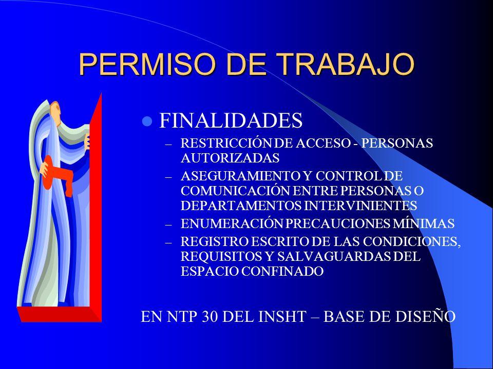 PERMISO DE TRABAJO FINALIDADES EN NTP 30 DEL INSHT – BASE DE DISEÑO