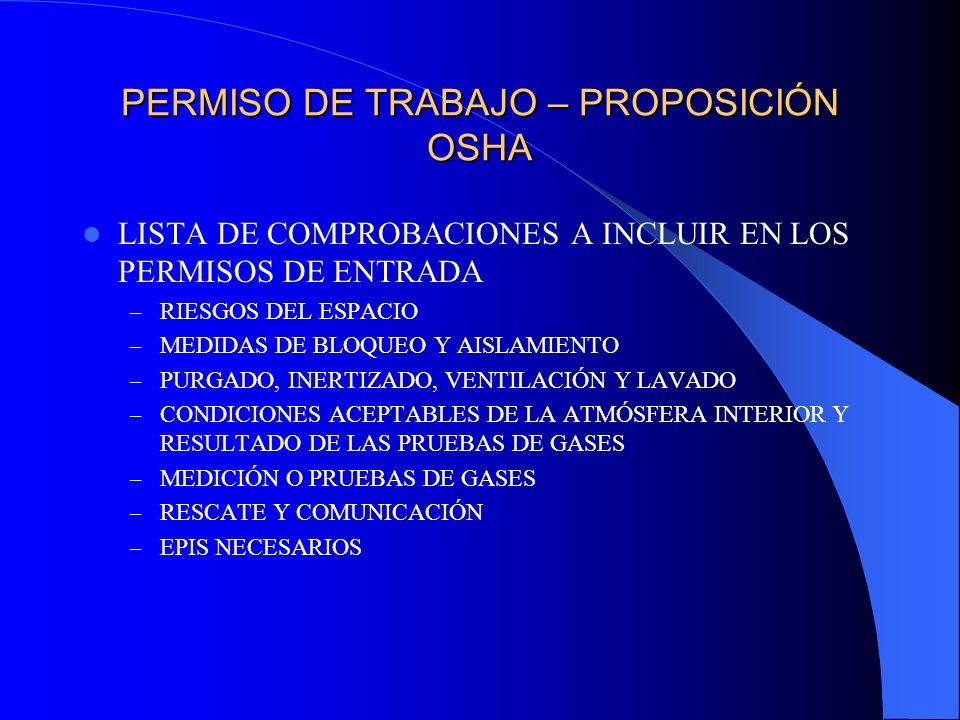 PERMISO DE TRABAJO – PROPOSICIÓN OSHA