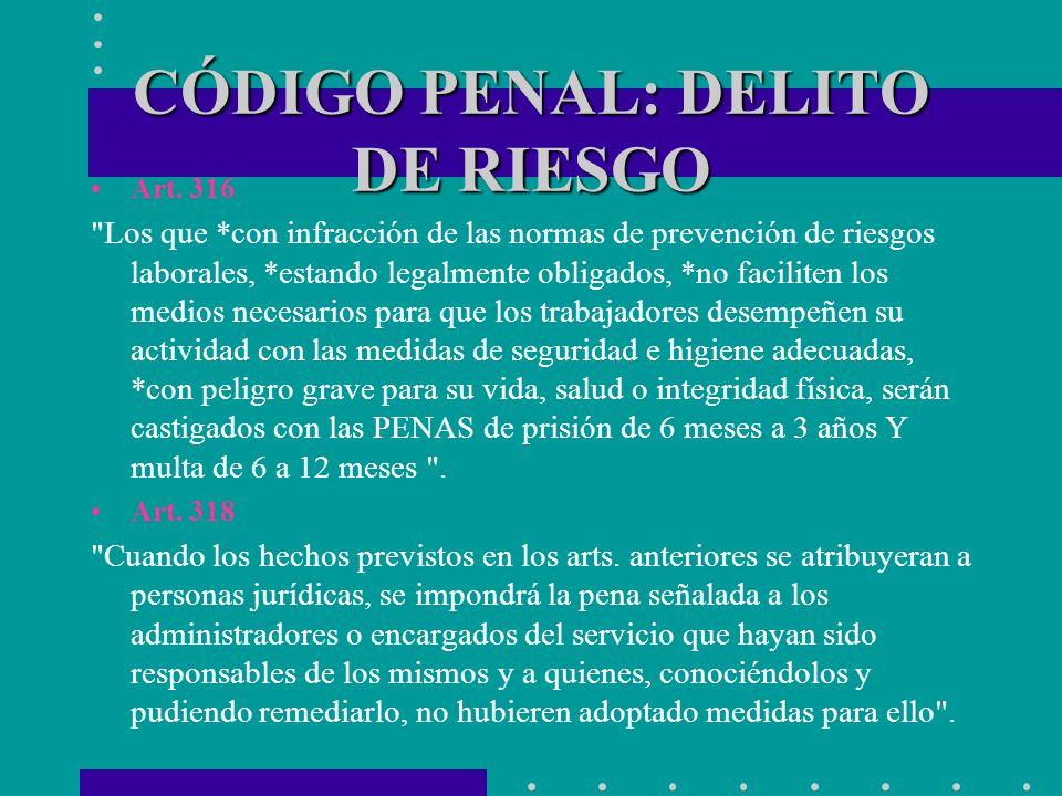 CÓDIGO PENAL: DELITO DE RIESGO