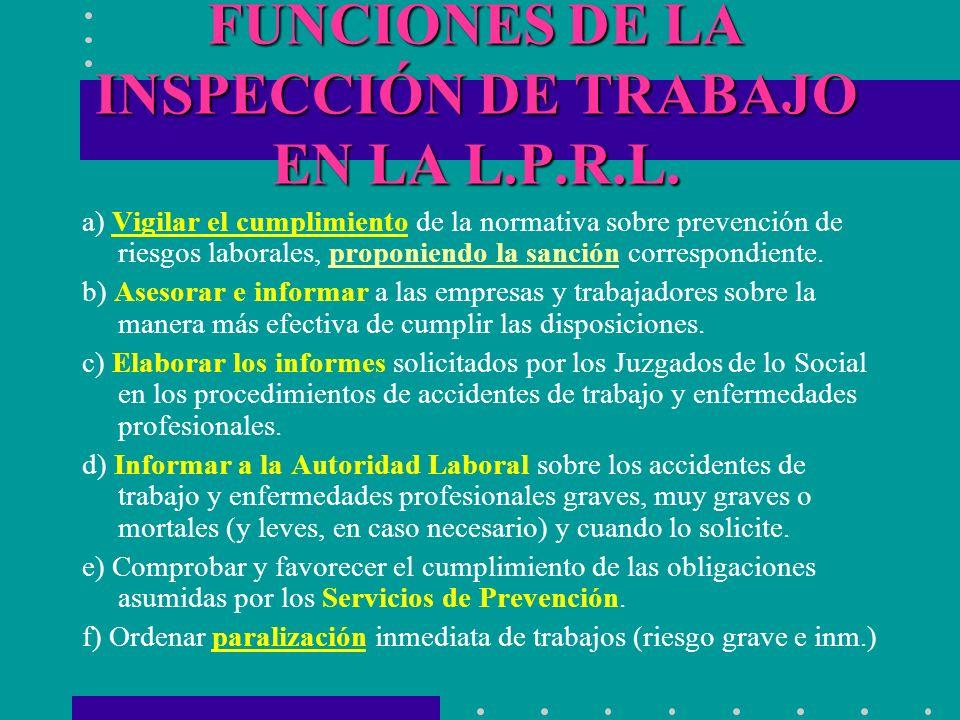 FUNCIONES DE LA INSPECCIÓN DE TRABAJO EN LA L.P.R.L.