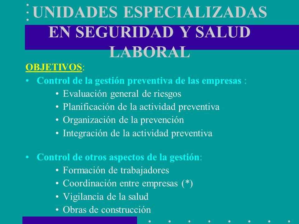 UNIDADES ESPECIALIZADAS EN SEGURIDAD Y SALUD LABORAL