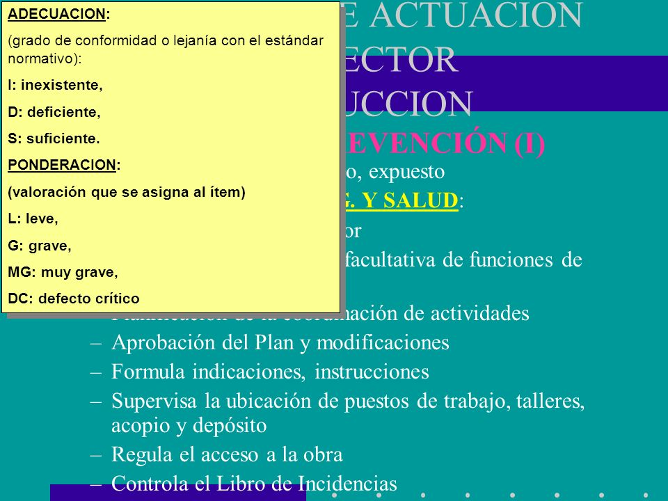 ADECUACION: (grado de conformidad o lejanía con el estándar normativo): I: inexistente, D: deficiente,