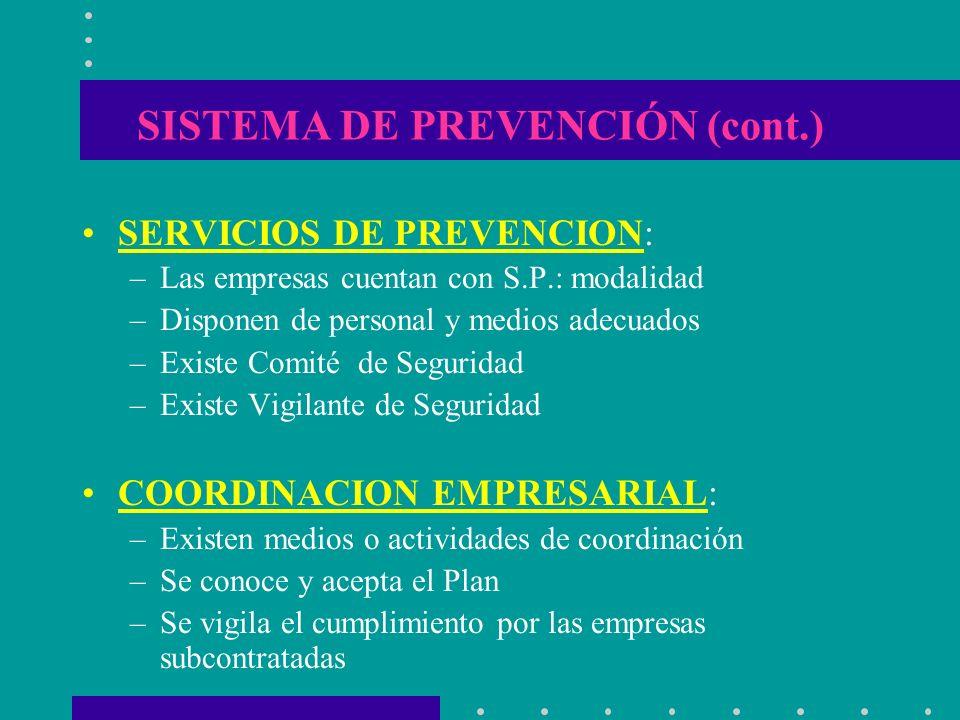 SISTEMA DE PREVENCIÓN (cont.)