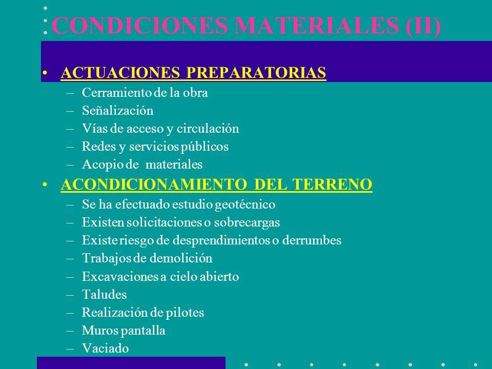 CONDICIONES MATERIALES (II)