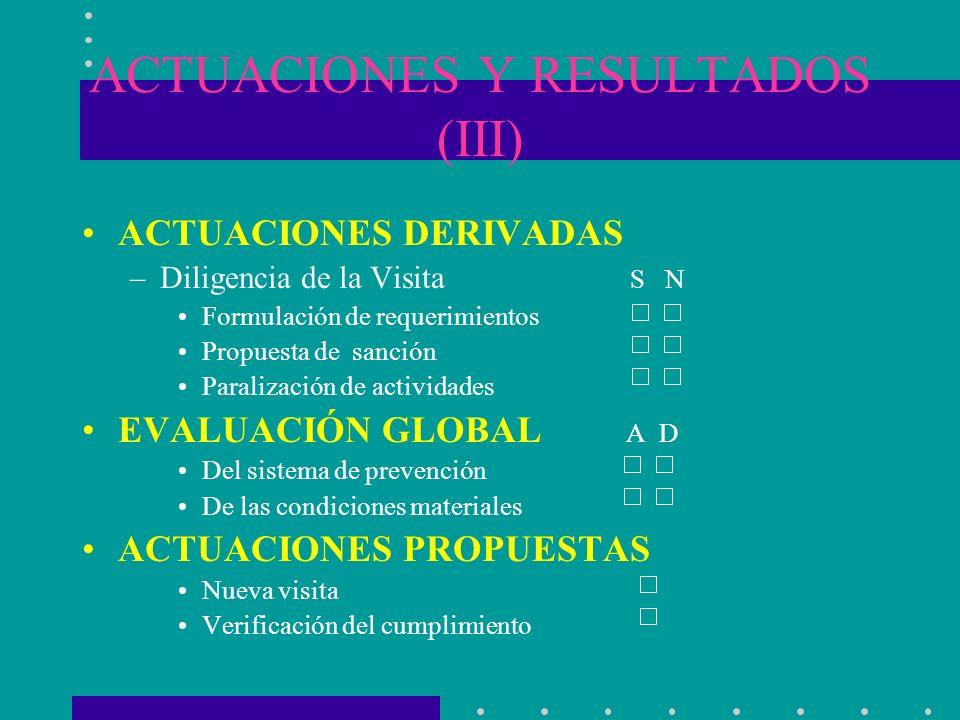 ACTUACIONES Y RESULTADOS (III)