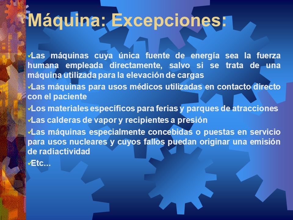 Máquina: Excepciones: