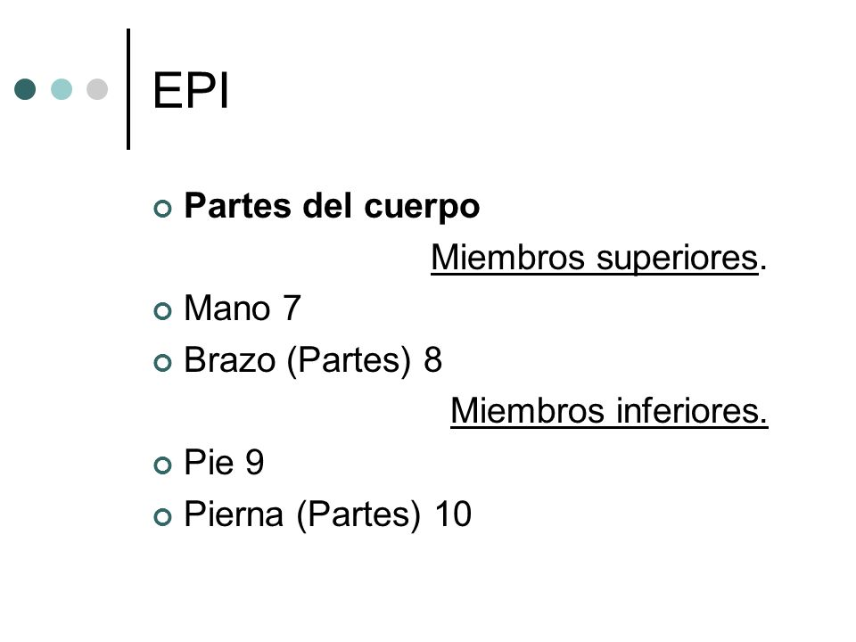 EPI Partes del cuerpo Miembros superiores. Mano 7 Brazo (Partes) 8