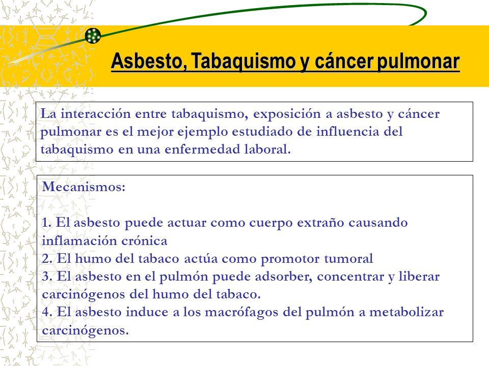 Asbesto, Tabaquismo y cáncer pulmonar