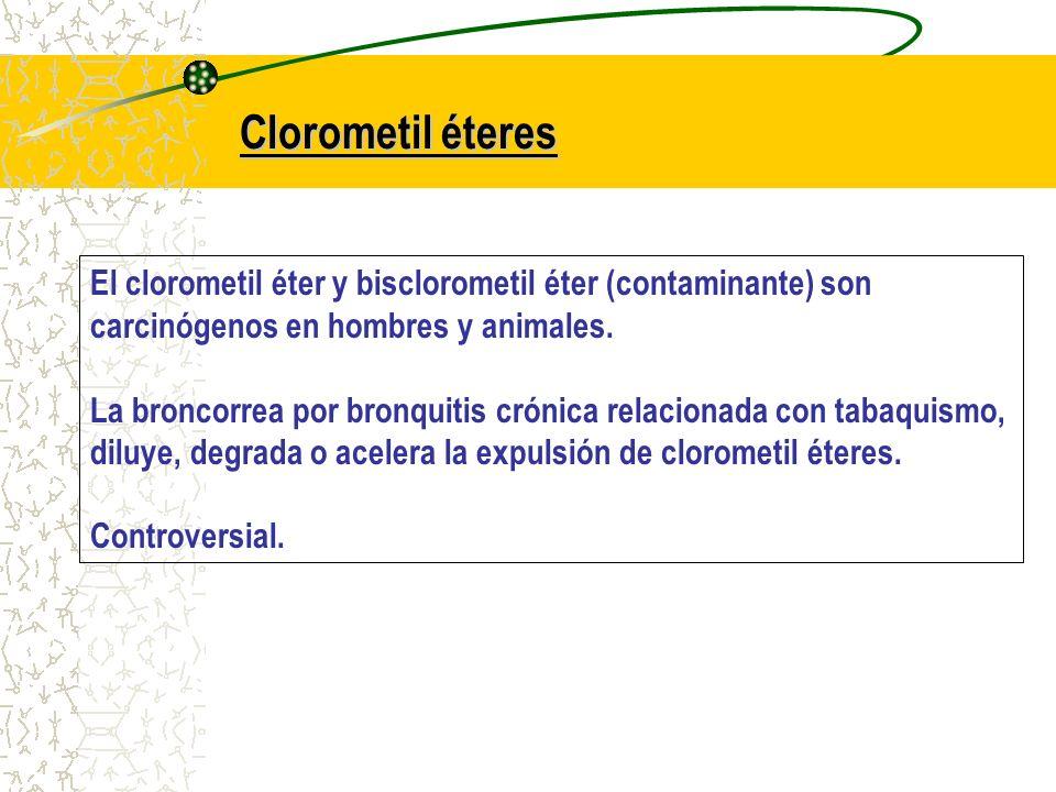 Clorometil éteres El clorometil éter y bisclorometil éter (contaminante) son carcinógenos en hombres y animales.