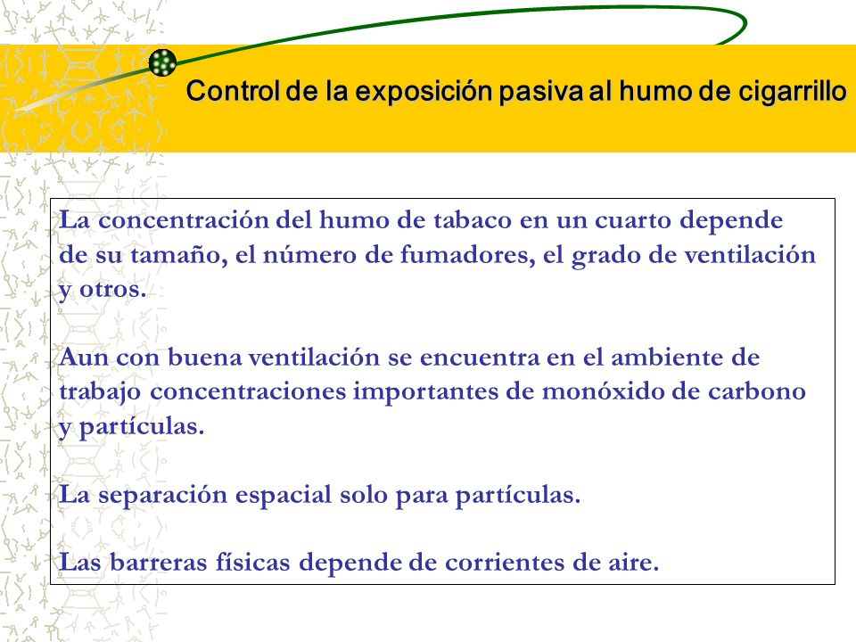 Control de la exposición pasiva al humo de cigarrillo