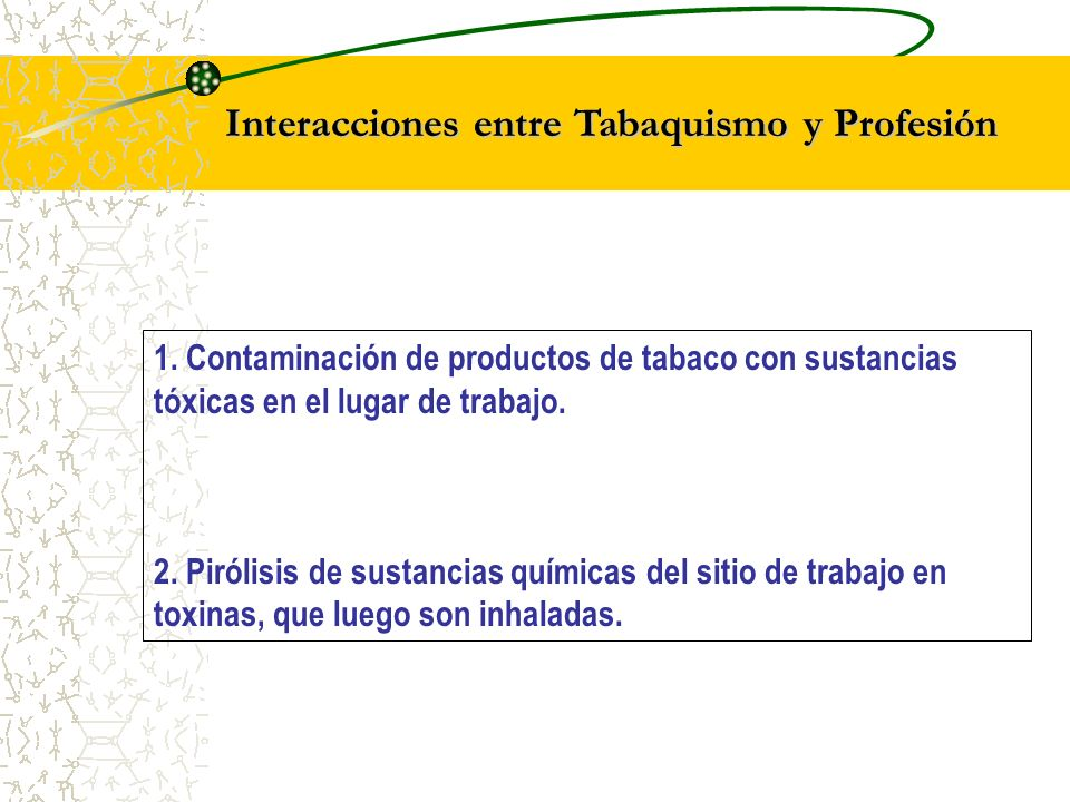 Interacciones entre Tabaquismo y Profesión
