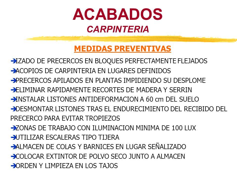 CARPINTERIA ACABADOS MEDIDAS PREVENTIVAS