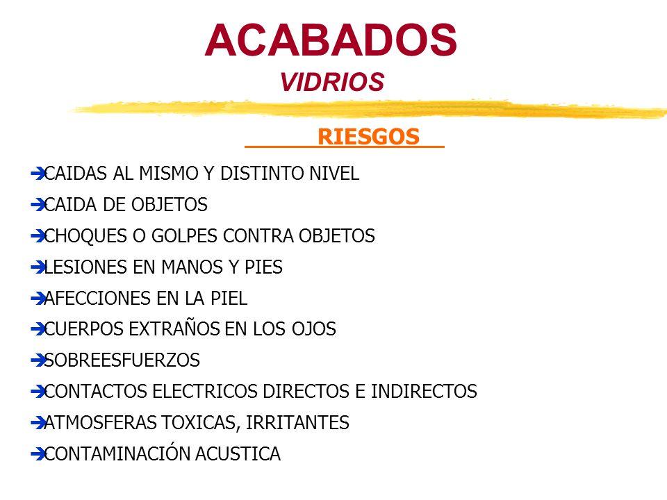VIDRIOS ACABADOS RIESGOS CAIDAS AL MISMO Y DISTINTO NIVEL