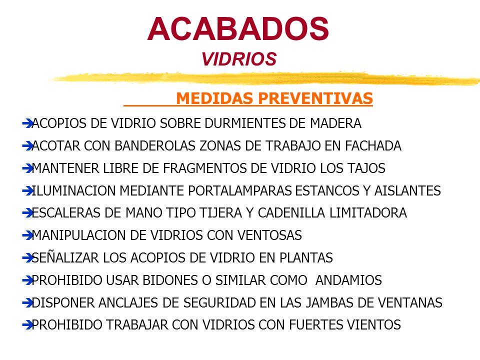VIDRIOS ACABADOS MEDIDAS PREVENTIVAS