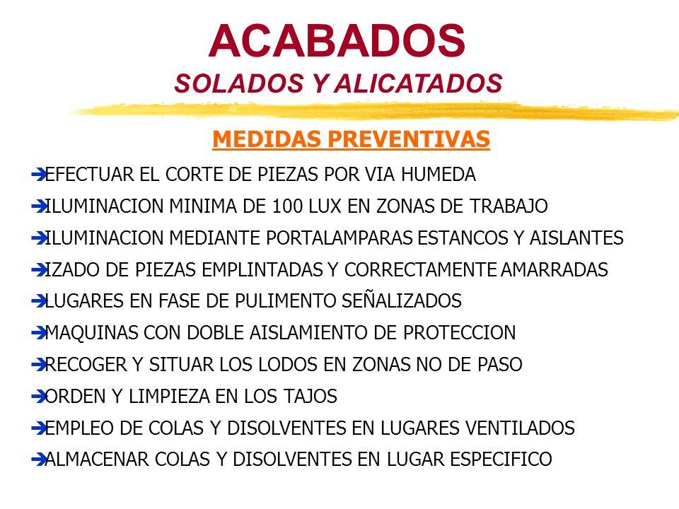 SOLADOS Y ALICATADOS ACABADOS MEDIDAS PREVENTIVAS