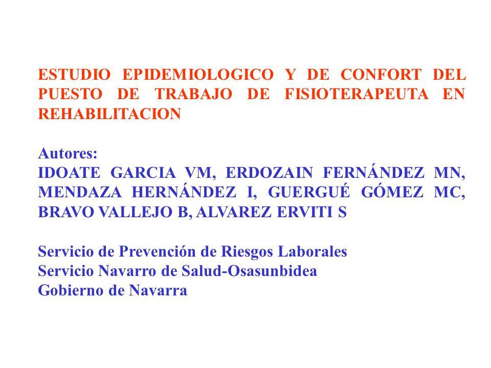 ESTUDIO EPIDEMIOLOGICO Y DE CONFORT DEL PUESTO DE TRABAJO DE FISIOTERAPEUTA EN REHABILITACION