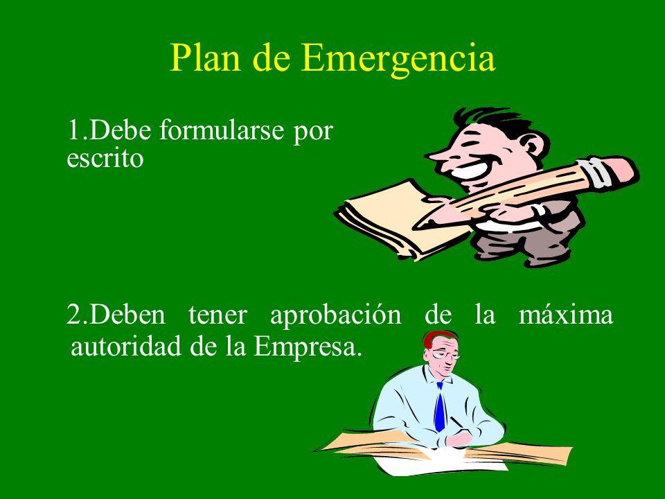 Plan de Emergencia 1.Debe formularse por escrito