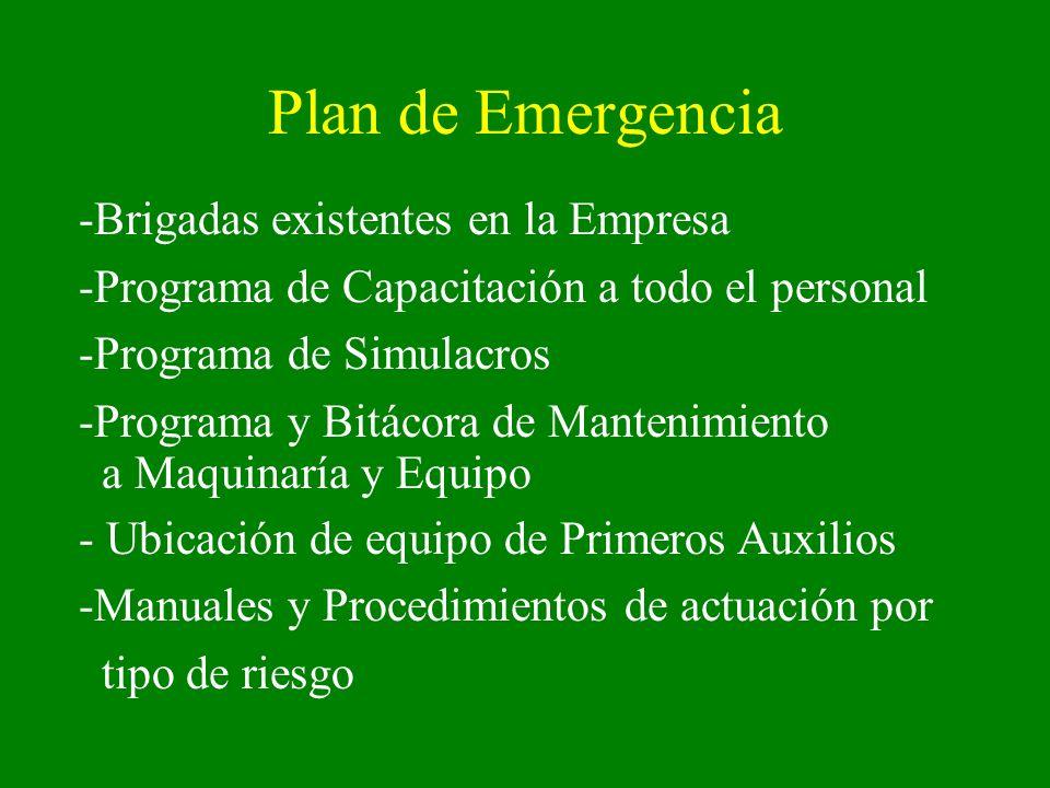 Plan de Emergencia Brigadas existentes en la Empresa