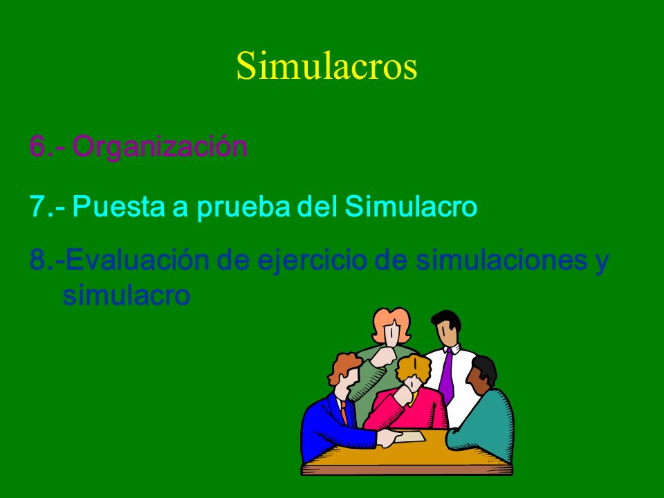 Simulacros 6.- Organización 7.- Puesta a prueba del Simulacro