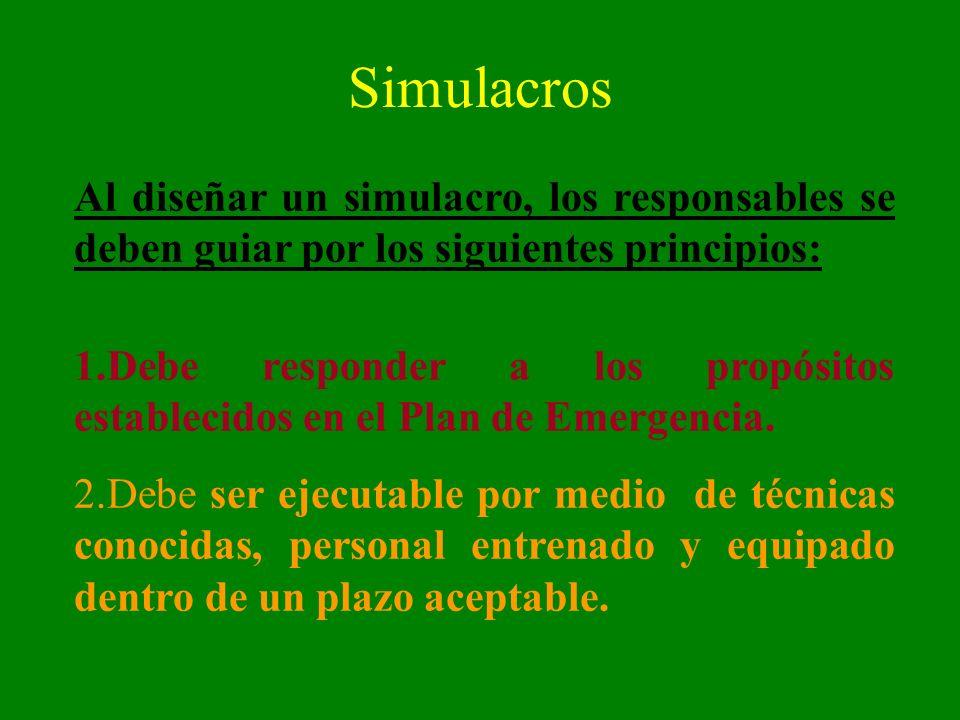 SimulacrosAl diseñar un simulacro, los responsables se deben guiar por los siguientes principios: