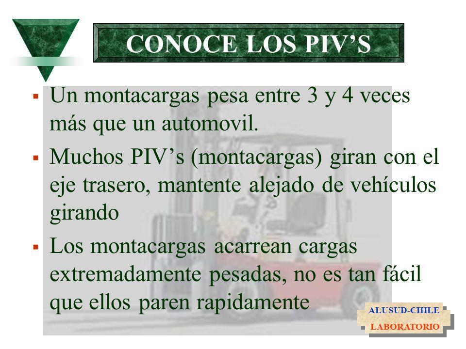 CONOCE LOS PIV'SUn montacargas pesa entre 3 y 4 veces más que un automovil.