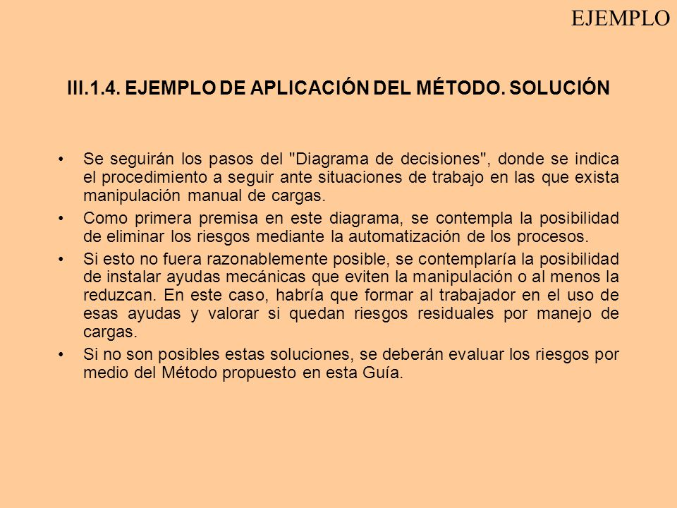 III.1.4. EJEMPLO DE APLICACIÓN DEL MÉTODO. SOLUCIÓN