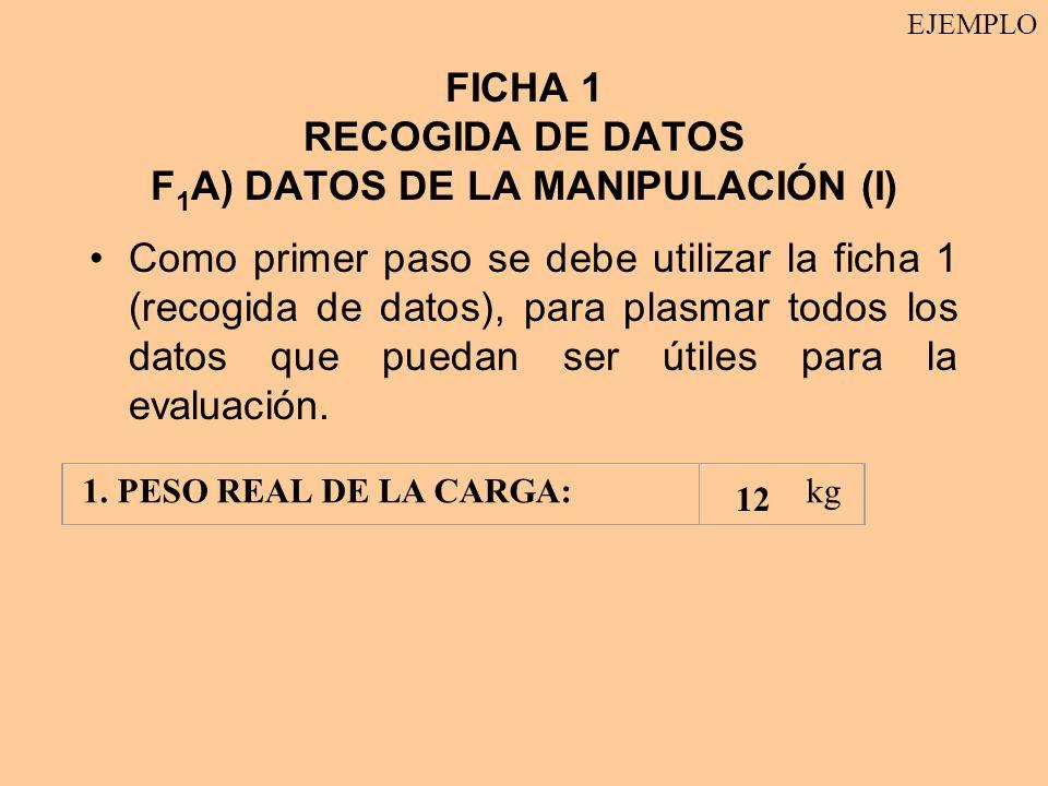 FICHA 1 RECOGIDA DE DATOS F1A) DATOS DE LA MANIPULACIÓN (I)