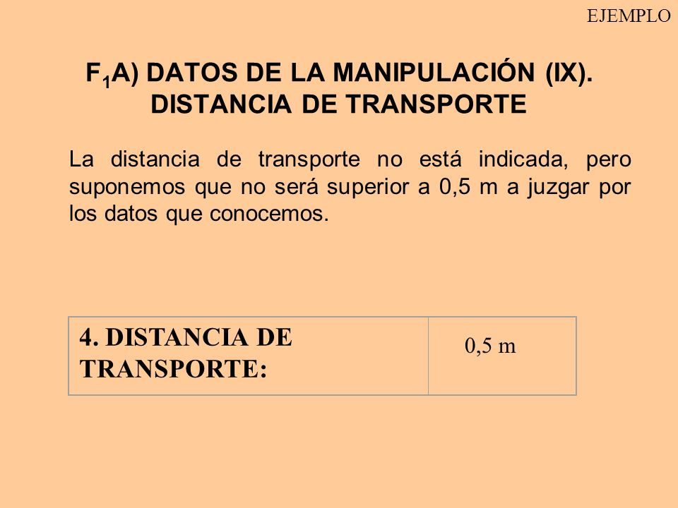 F1A) DATOS DE LA MANIPULACIÓN (IX). DISTANCIA DE TRANSPORTE