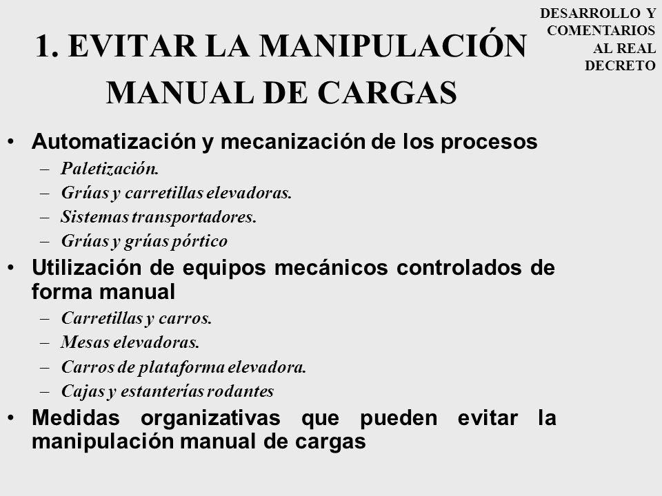 1. EVITAR LA MANIPULACIÓN MANUAL DE CARGAS